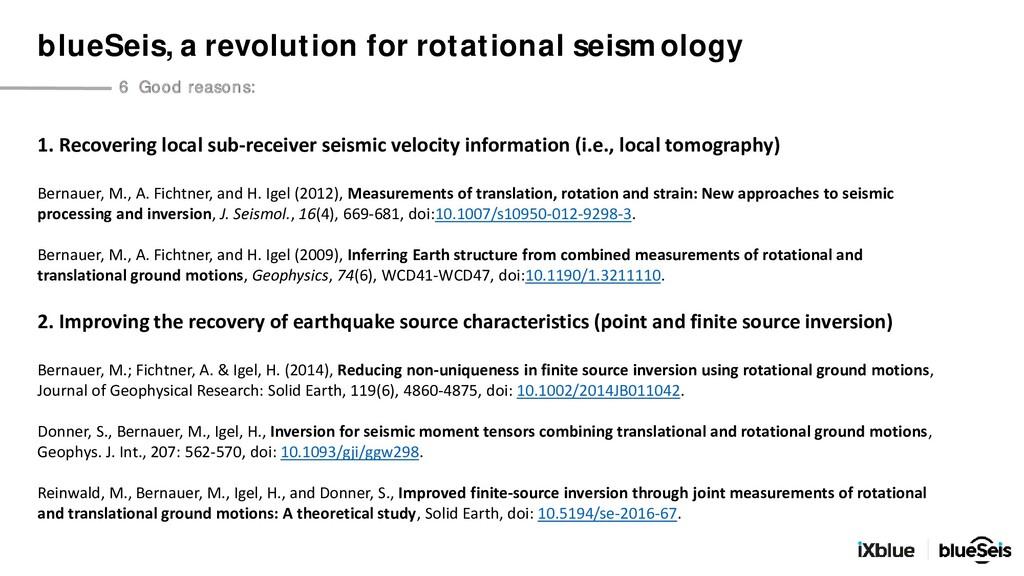 1. Recovering local sub-receiver seismic veloci...