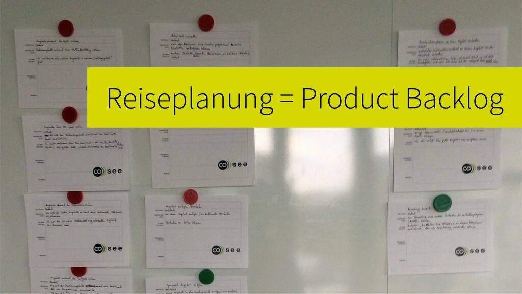 Reiseplanung = Product Backlog