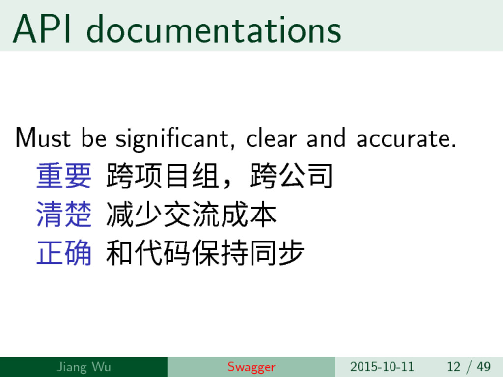 API documentations Must be significant, clear a...