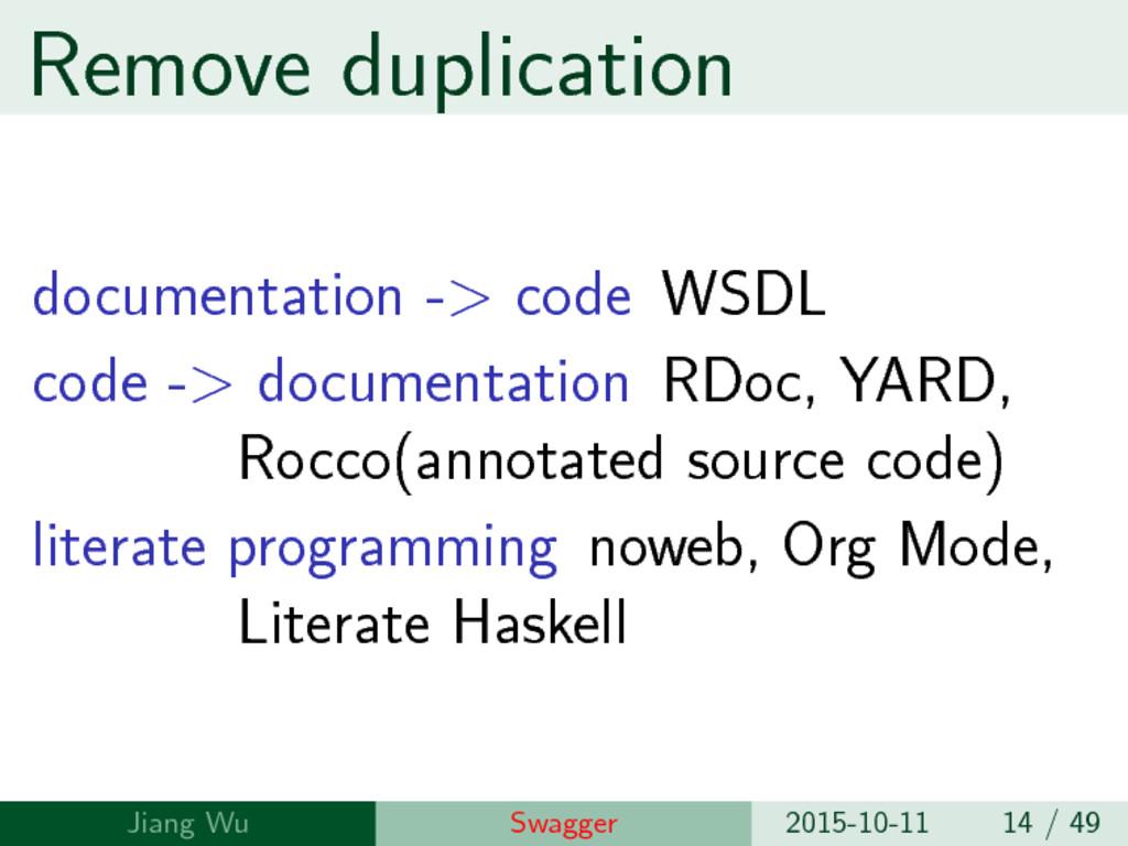 Remove duplication documentation -> code WSDL c...