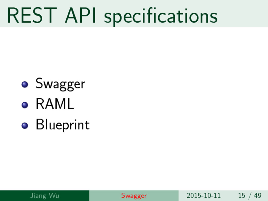 REST API specifications Swagger RAML Blueprint ...