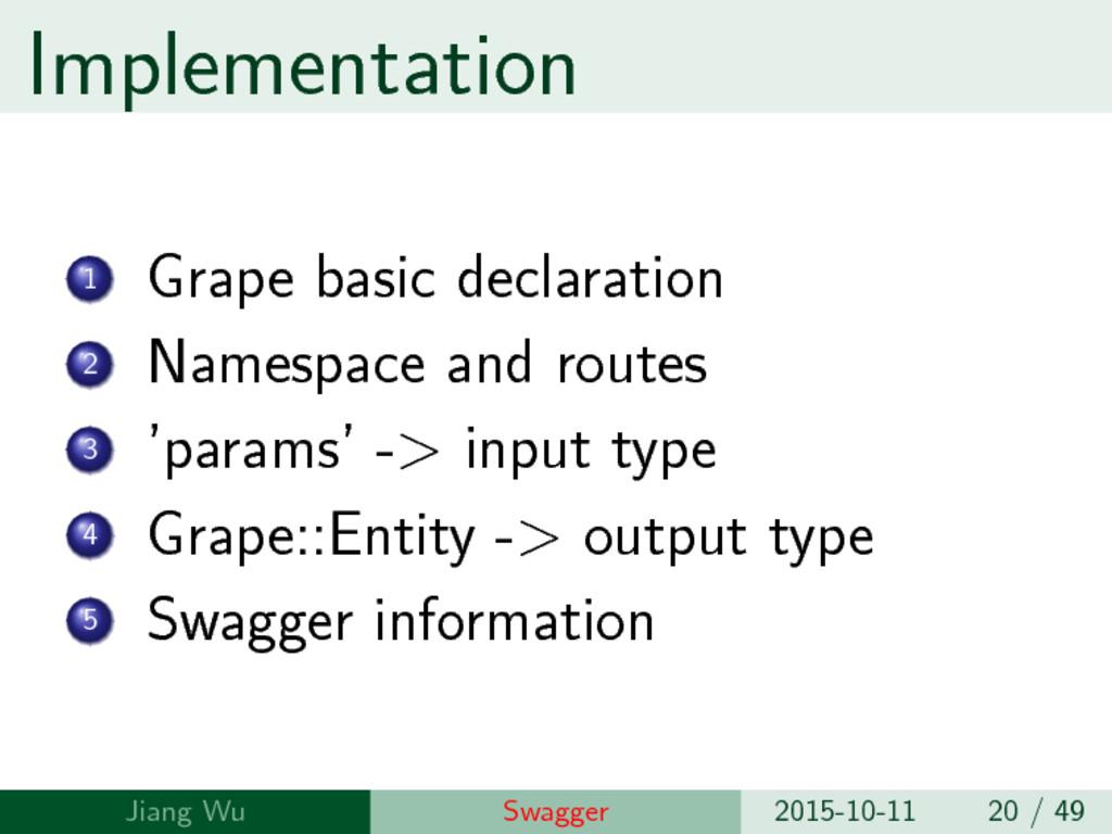 Implementation 1 Grape basic declaration 2 Name...