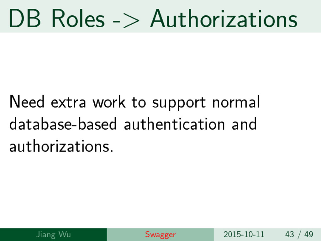 DB Roles -> Authorizations Need extra work to s...