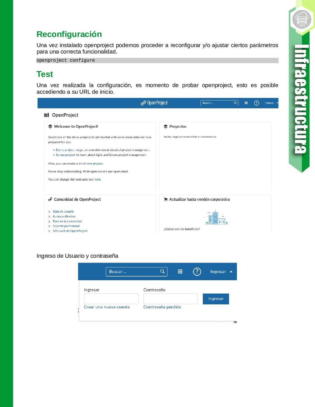 Reconfiguración Una vez instalado openproject p...