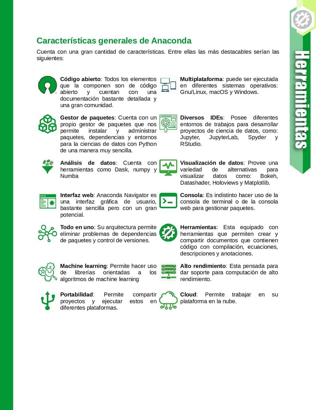Características generales de Anaconda Cuenta co...