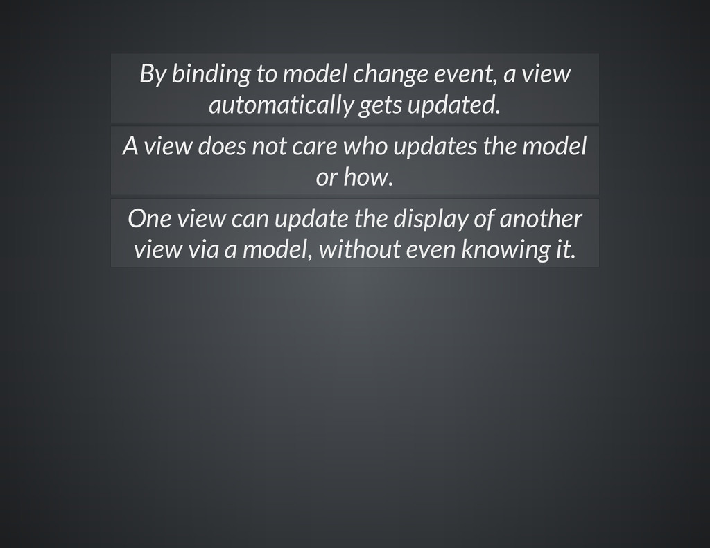 By binding to model change event, a view automa...