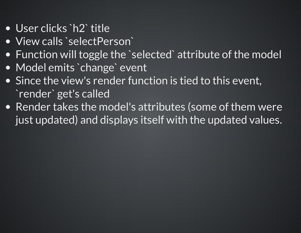 User clicks `h2` title View calls `selectPerson...