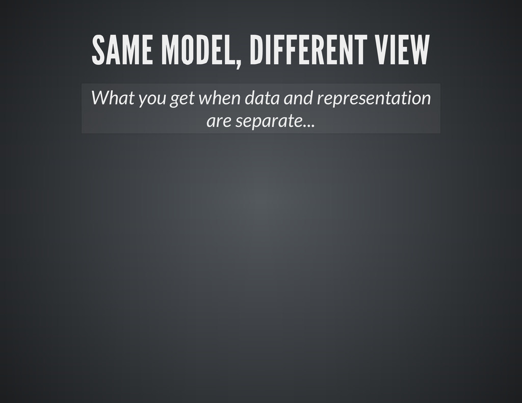 What you get when data and representation are s...