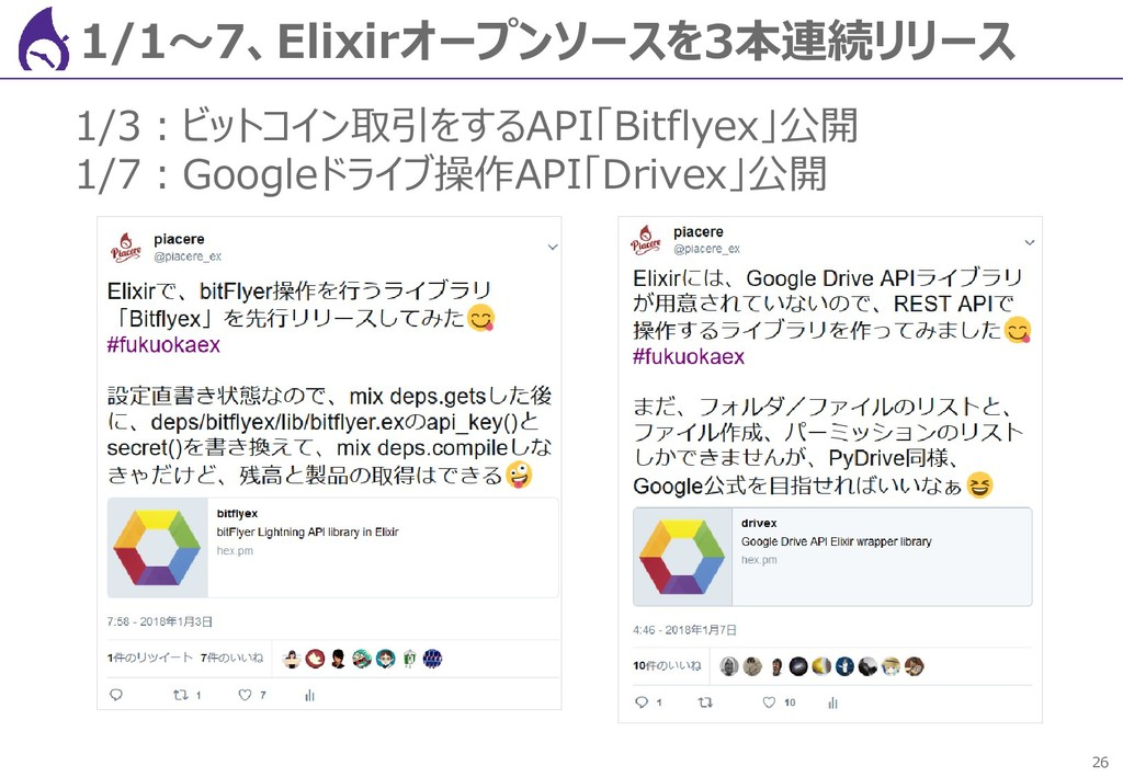 26 1/1~7、Elixirオープンソースを3本連続リリース 1/3:ビットコイン取引をする...