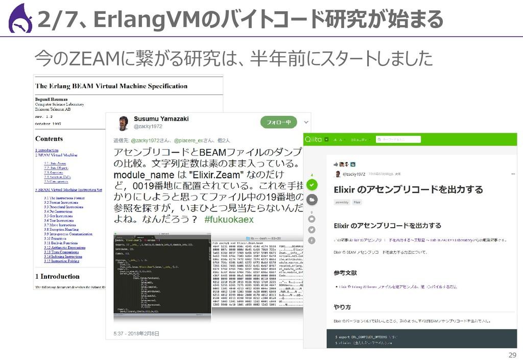 29 2/7、ErlangVMのバイトコード研究が始まる 今のZEAMに繋がる研究は、半年前に...
