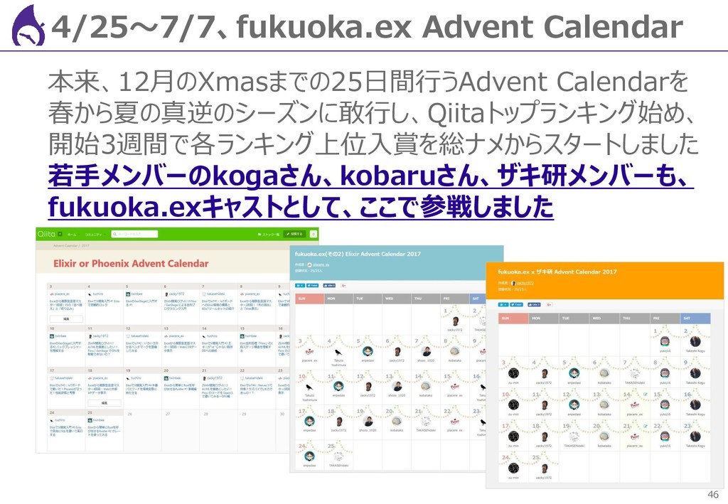 46 4/25~7/7、fukuoka.ex Advent Calendar 本来、12月のX...