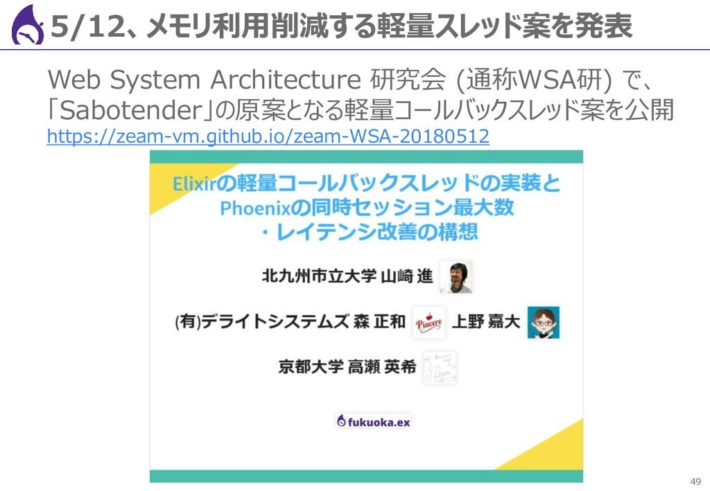 49 5/12、メモリ利用削減する軽量スレッド案を発表 Web System Architec...