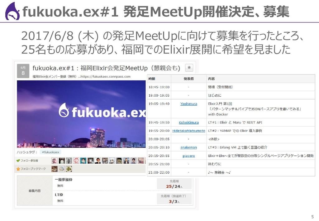 5 fukuoka.ex#1 発足MeetUp開催決定、募集 2017/6/8 (木) の発足...