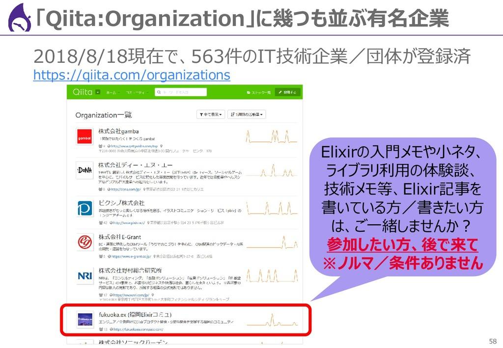58 「Qiita:Organization」に幾つも並ぶ有名企業 2018/8/18現在で、...