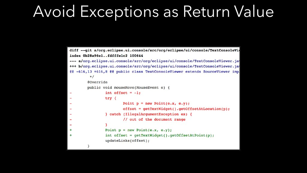 Avoid Exceptions as Return Value