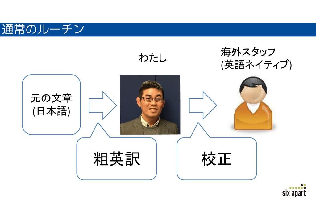 通常のルーチン 元の文章 (日本語) 粗英訳 校正 海外スタッフ (英語ネイティブ) わたし