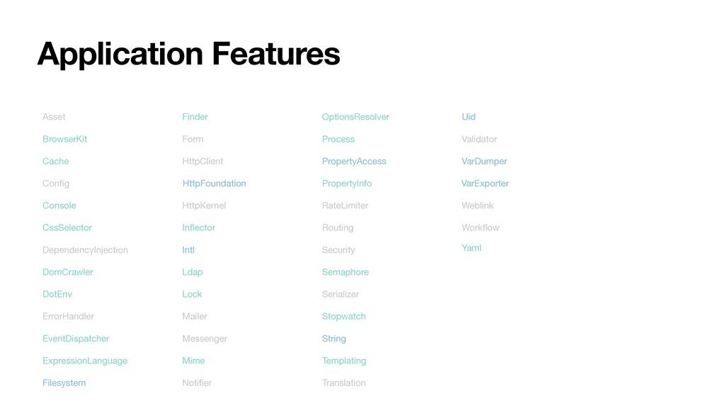 Application Features Asset BrowserKit Cache Con...