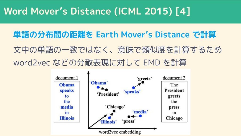 Word Mover's Distance (ICML 2015) [4] 単語の分布間の距離...