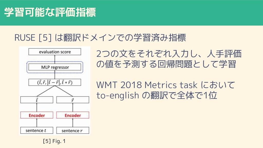 学習可能な評価指標 RUSE [5] は翻訳ドメインでの学習済み指標 2つの文をそれぞれ入力し...
