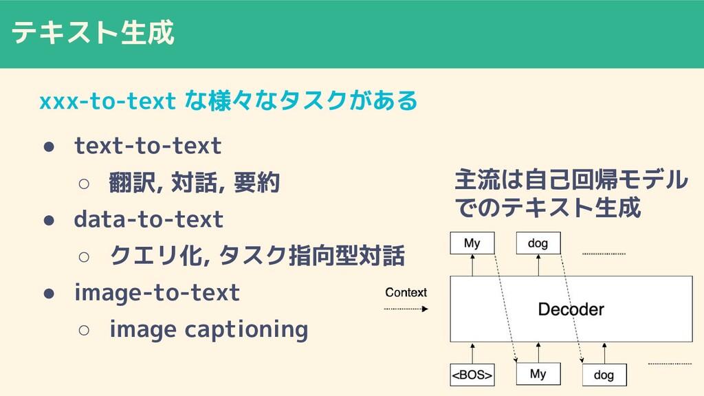 テキスト生成 xxx-to-text な様々なタスクがある ● text-to-text ○ ...