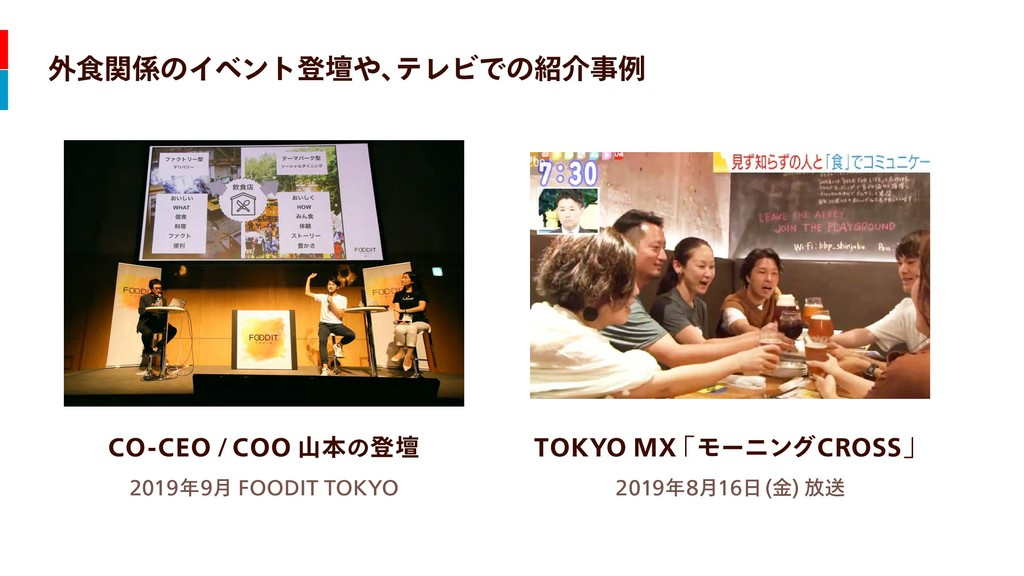 外食関係のイベント登壇や、 テレビでの紹介事例 CO-CEO / COO 山本の登壇 2019...
