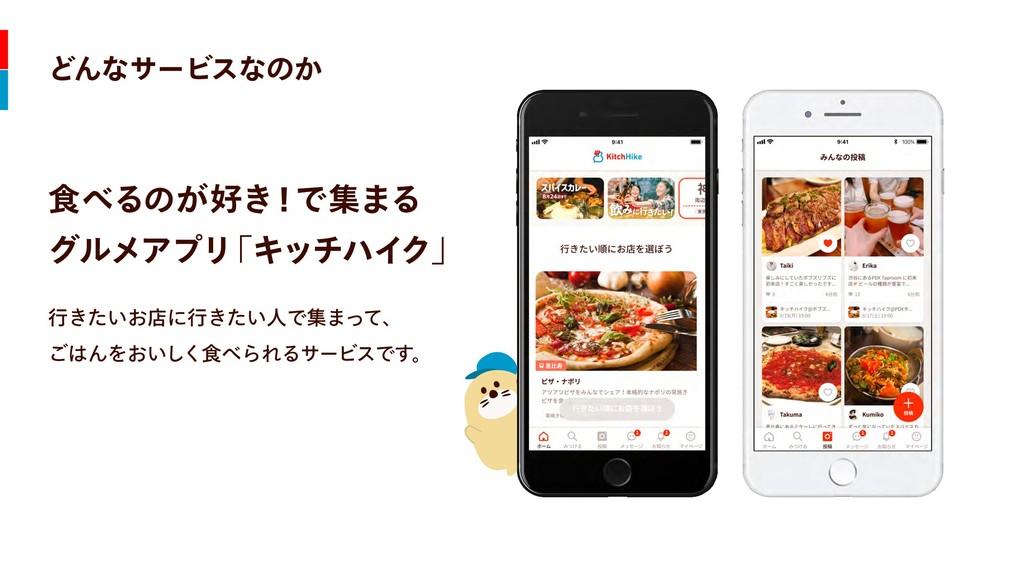 どんなサービスなのか 食べるのが好き!で集まる  グルメアプリ 「キッチハイク」 行きたいお店...