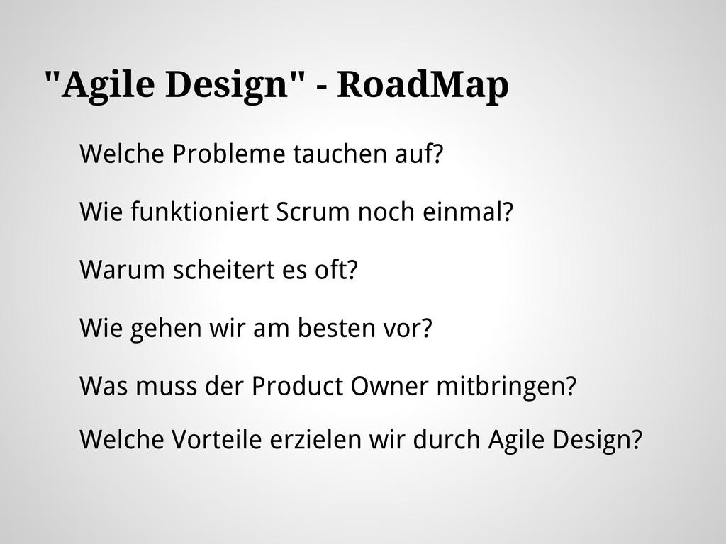 """""""Agile Design"""" - RoadMap Welche Probleme tauche..."""