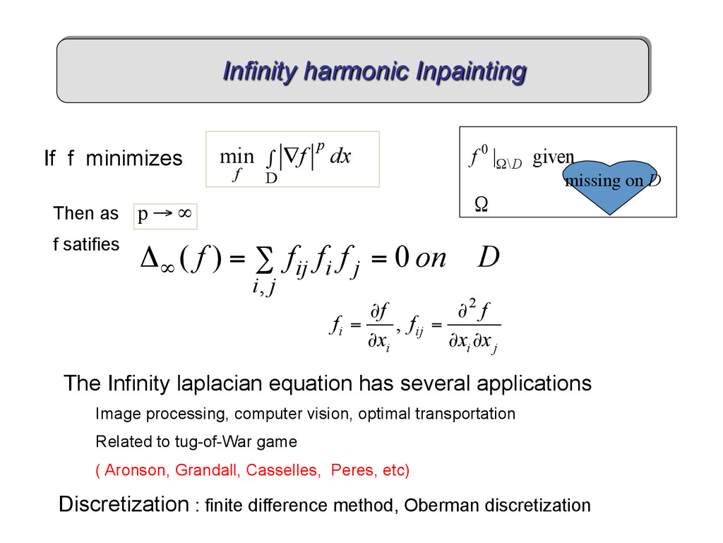 If f minimizes D min p f f dx ∫ ∇ 2 , i ij i i ...