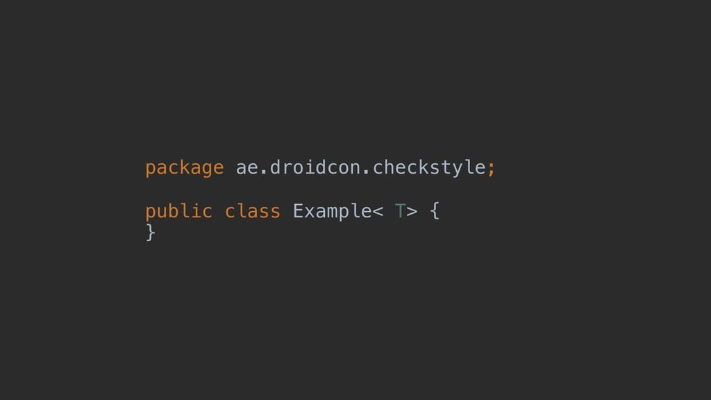 package ae.droidcon.checkstyle; public class Ex...