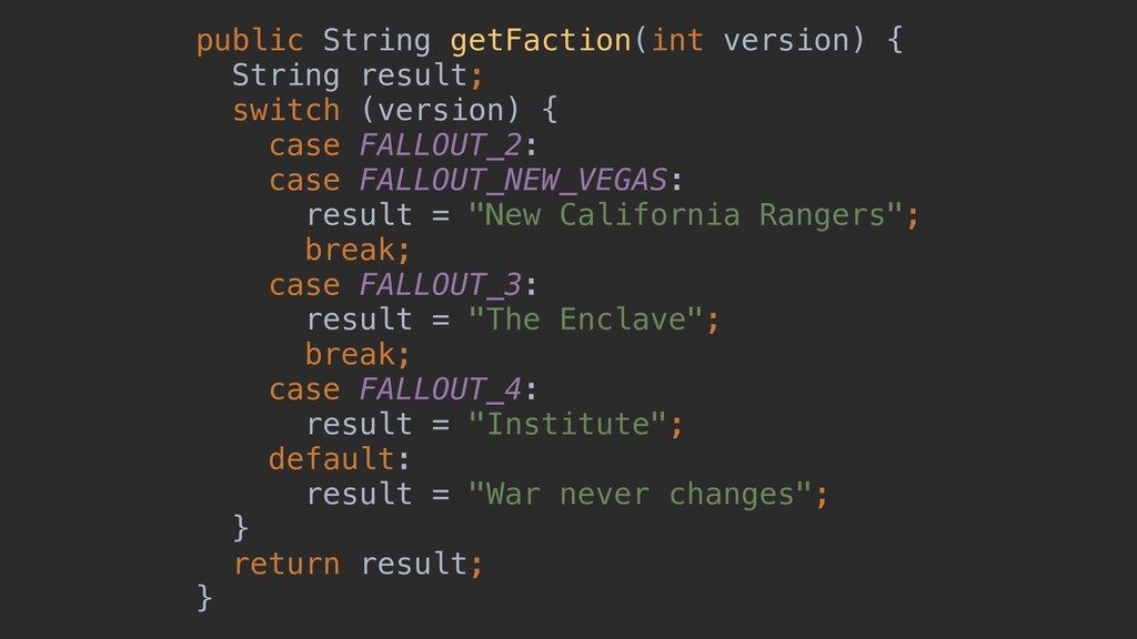 public String getFaction(int version) { String ...