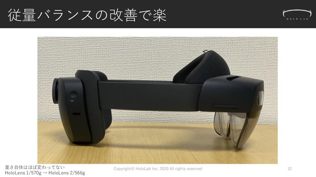 従量バランスの改善で楽 12 重さ自体はほぼ変わってない HoloLens 1/570g → ...
