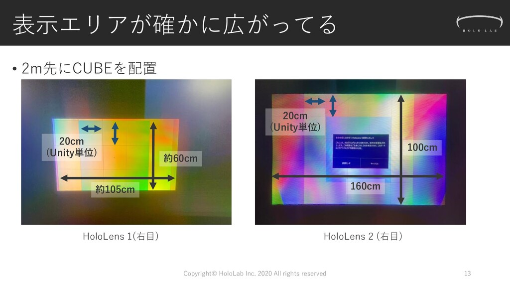 表示エリアが確かに広がってる • 2m先にCUBEを配置 13 20cm (Unity単位) ...