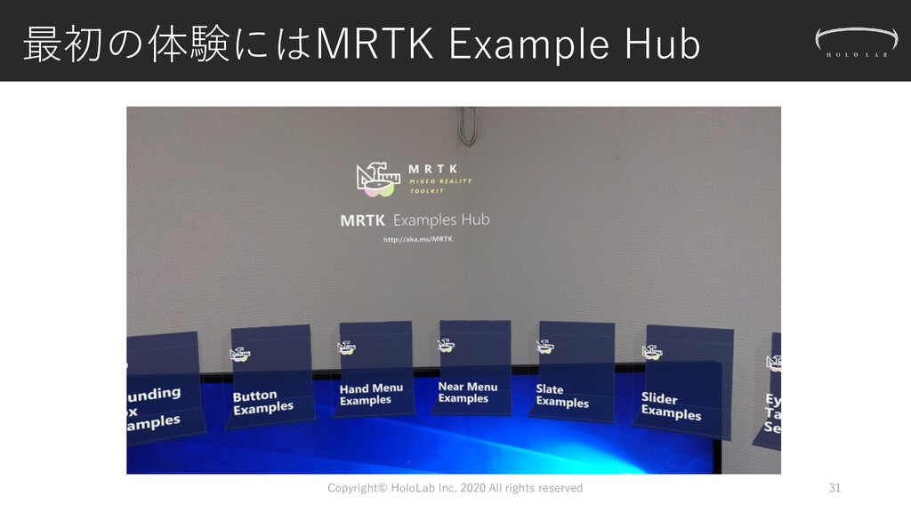 最初の体験にはMRTK Example Hub 31 Copyright© HoloLab I...
