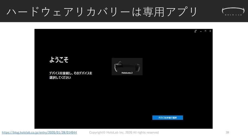 ハードウェアリカバリーは専用アプリ 38 https://blog.hololab.co.jp...