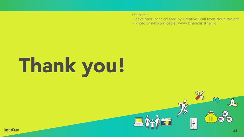 34 Thank you! Licenses: ・developer icon: create...