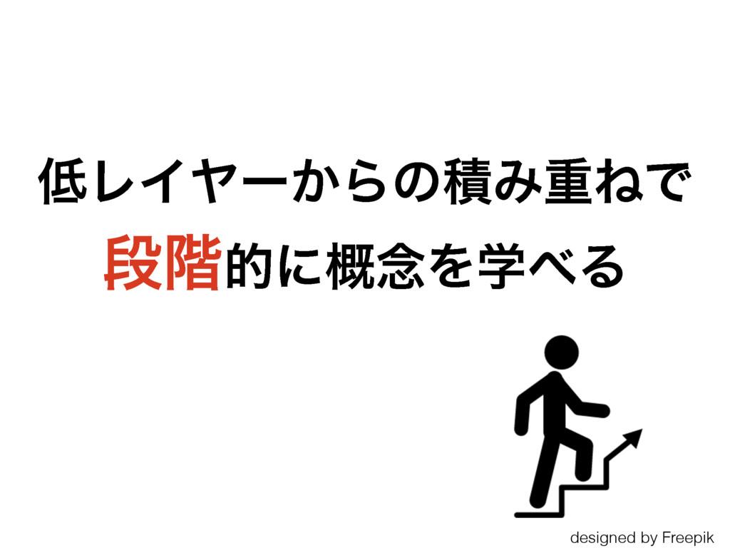 ϨΠϠʔ͔ΒͷੵΈॏͶͰ ஈ֊తʹ֓೦ΛֶΔ designed by Freepik