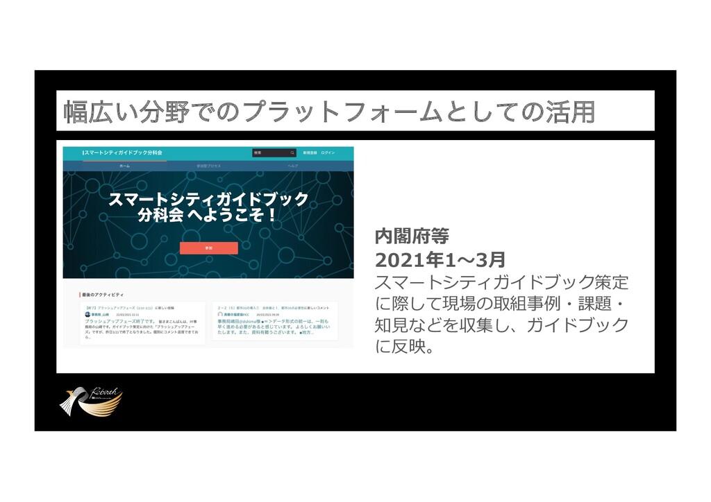 ෯͍ͰͷϓϥοτϑΥʔϜͱͯ͠ͷ׆༻ 内閣府等 2021年1〜3⽉ スマートシティガイド...