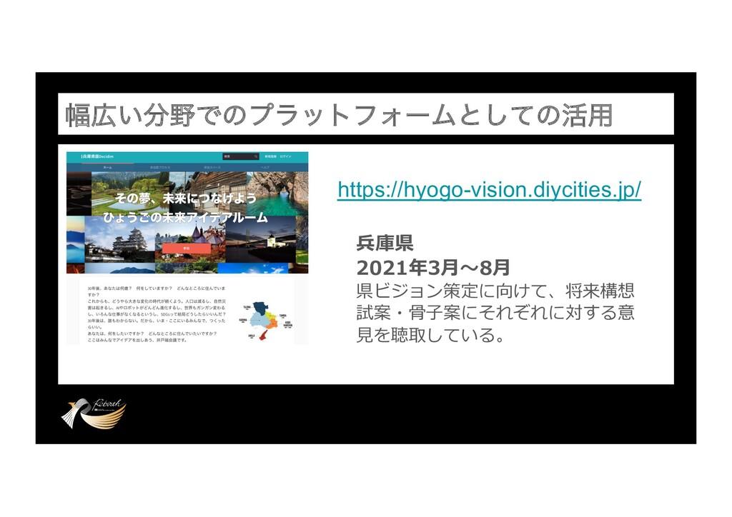 ෯͍ͰͷϓϥοτϑΥʔϜͱͯ͠ͷ׆༻ https://hyogo-vision.diyc...