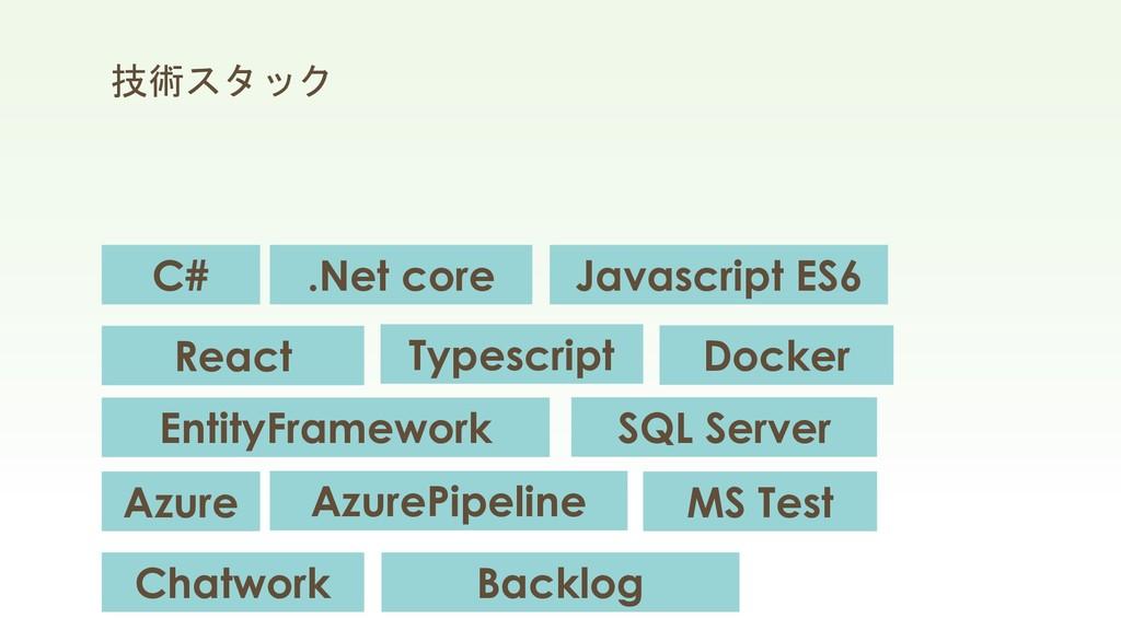 技術スタック C# Azure Chatwork React Typescript Javas...