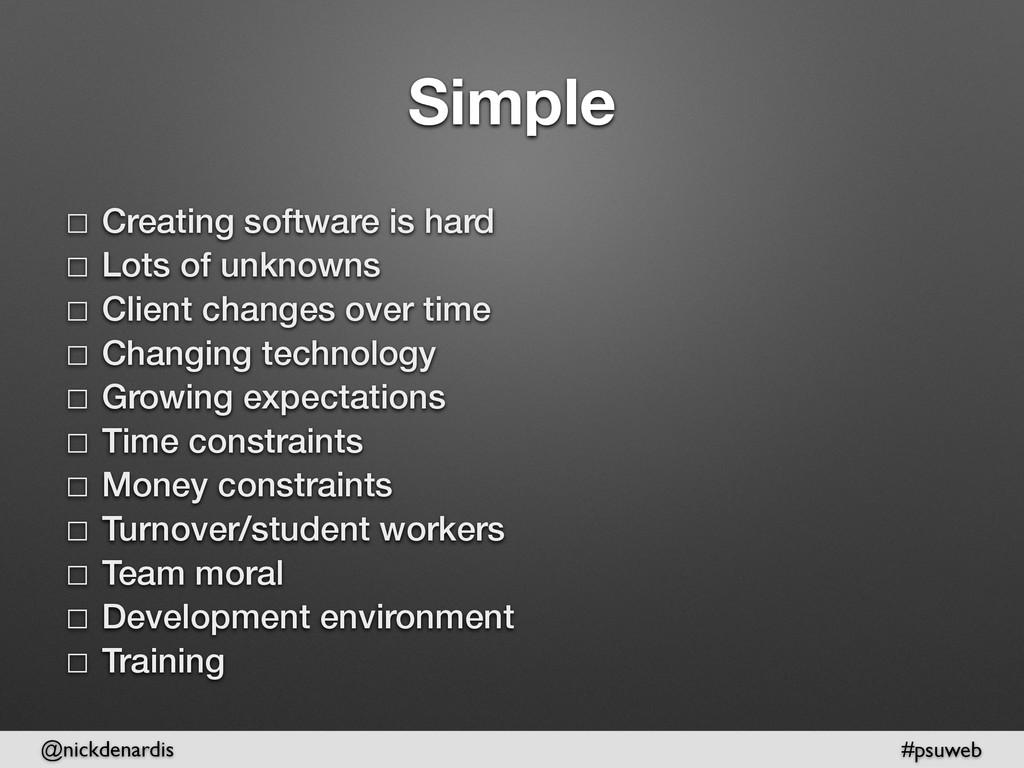 @nickdenardis #psuweb Simple ☐ Creating softwar...