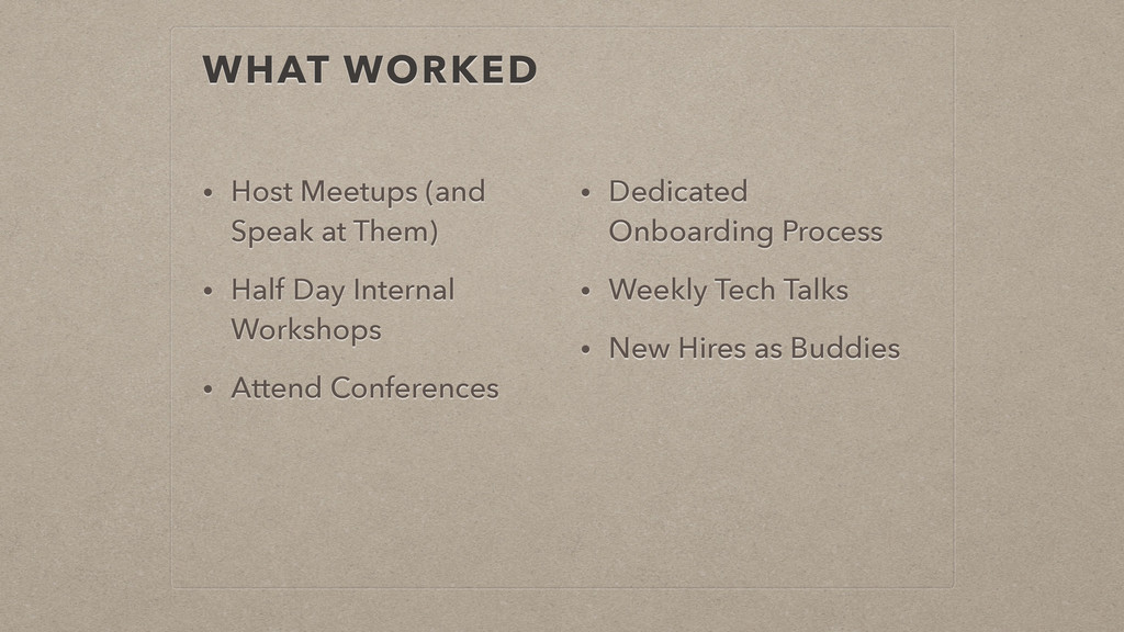 WHAT WORKED • Host Meetups (and Speak at Them) ...