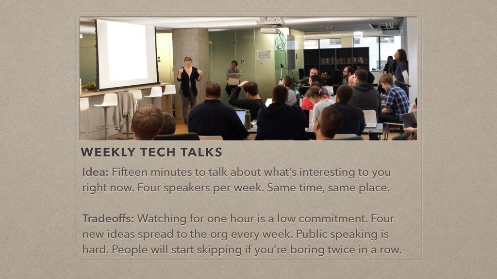 WEEKLY TECH TALKS Idea: Fifteen minutes to talk...