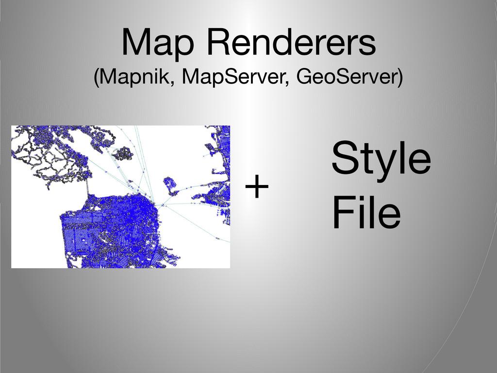 Map Renderers (Mapnik, MapServer, GeoServer) + ...