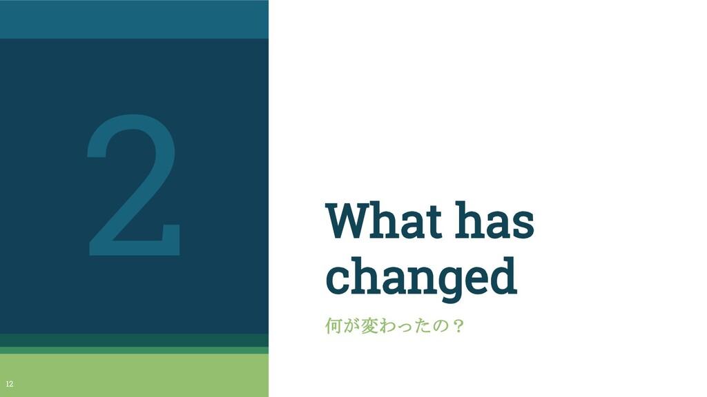 What has changed 何が変わったの? 2 12