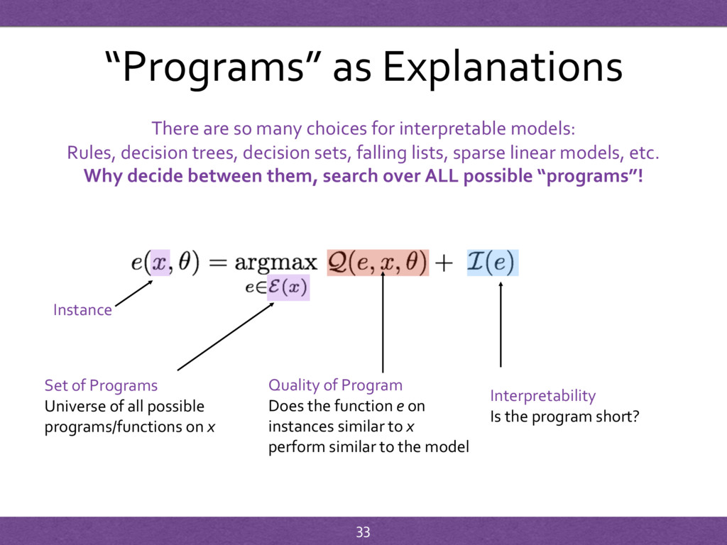 """""""Programs"""" as Explanations Instance Set of Prog..."""