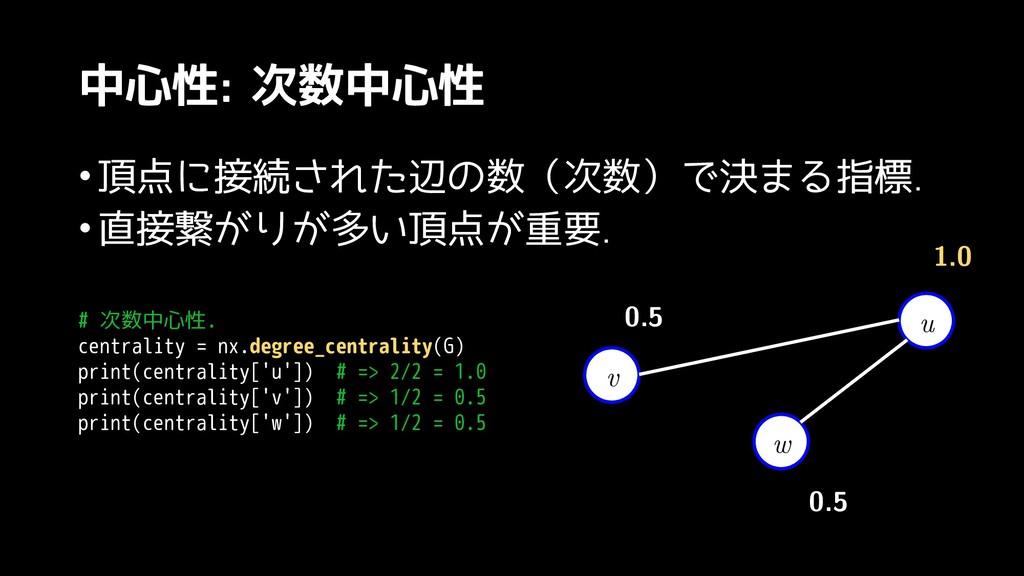 中心性: 次数中心性 •頂点に有明で戦うこと接続された辺の数(された辺のスライドはほぼ数(次数...