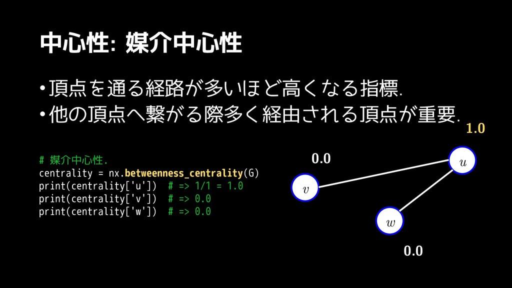 中心性: 媒介中心性 •頂点を見てみる通る経路が多いほる経路を見つけるが記載されている多い頂点...
