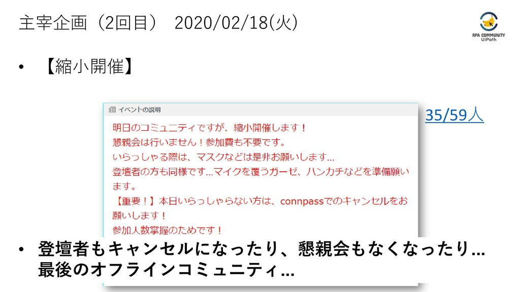 主宰企画(2回目) 2020/02/18(火) • 【縮小開催】 35/59人 • 登壇者もキ...