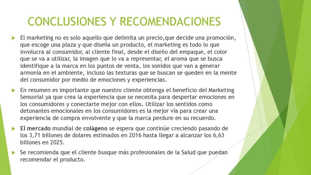 CONCLUSIONES Y RECOMENDACIONES u El marketing n...