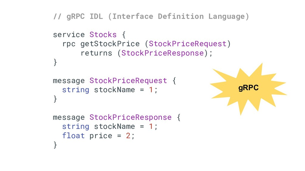 // gRPC IDL (Interface Definition Language) ser...
